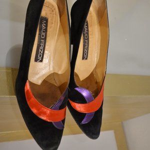Black Suede w Scarlet & Purple Toe Box Pumps